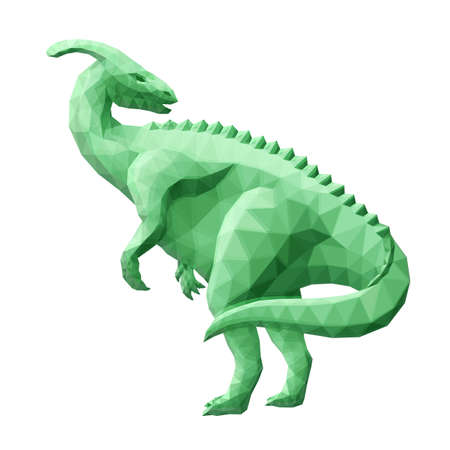 Beautiful low poly illustration with green stylized dinosaur isolated on the white background