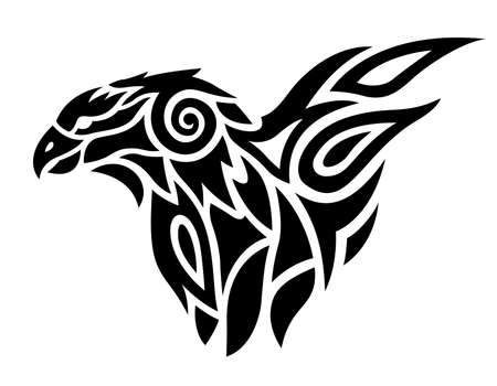 Beautiful tribal tattoo illustration with black predatory bird on the white background