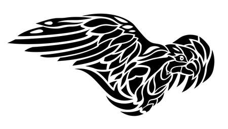 Beautiful black tribal tattoo illustration with stylized parrot on the white background