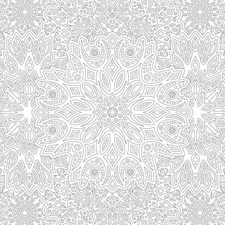 Beautiful square illustration for adult coloring book with black abstract linear eastern pattern Çizim