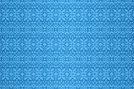 Beautiful abstract blue background with colorful seamless pattern