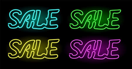 Beautiful collection of linear arts with shiny neon word sale on the dark background