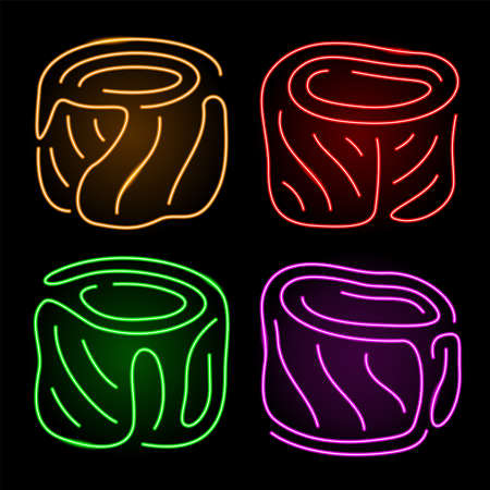 Beautiful linear arts collection with shiny neon stylized sushi on the dark background