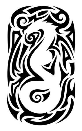 Beautiful tribal tattoo illustration with isolated abstract black pattern around white chinese dragon silhouette