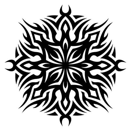 Beautiful monochrome tribal tattoo illustration with abstract single pattern isolated on the white background