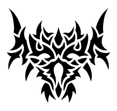Beautiful tribal tattoo vector illustration with black demon mask isolated on the white background 일러스트