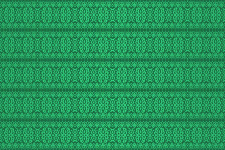 Beautiful green background with eastern linear seamless pattern