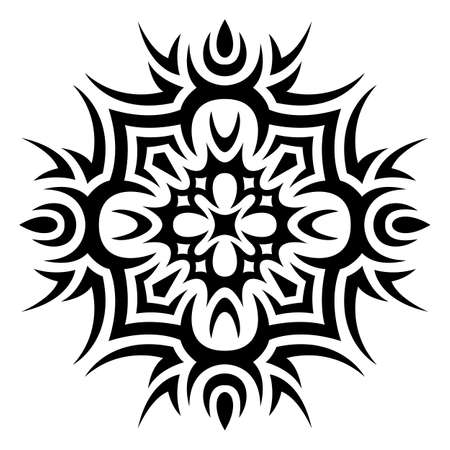 Beautiful monochrome tribal tattoo illustration with abstract pattern isolated on the white background