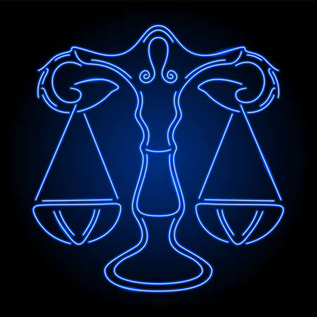 Beautiful linear illustration for zodiac horoscope with shiny neon blue libra symbol on the darc background