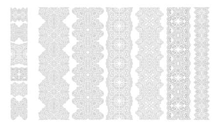 Beautiful monochrome collection for coloring book page with abstract linear seamless paint brushes isolated on the white background 일러스트