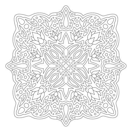 Beautiful monochrome illustration for coloring book page with floral linear pattern isolated on the white background 일러스트