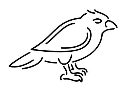 Beautiful monochrome linear illustration with little cartoon bird silhouette isolated on the white background
