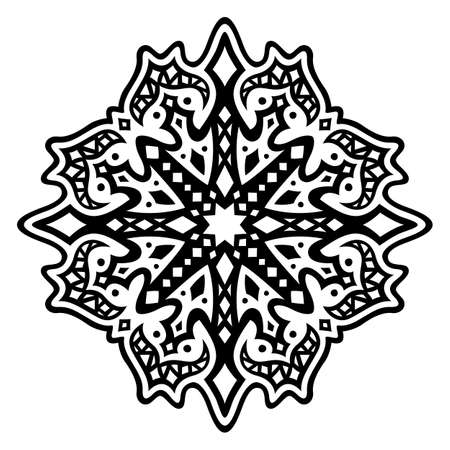 beautiful monochrome tribal tattoo illustration with black starry pattern isolated on the white background 일러스트