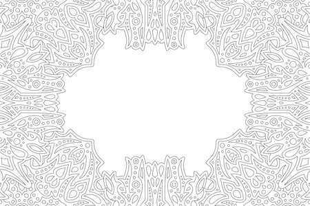 Beautiful monochrome linear illustration for adult coloring book page with abstract eastern rectangle border and white copy space