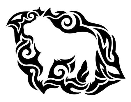 Beautiful monochrome tribal tattoo illustration with isolated black pattern around white lion silhouette 일러스트
