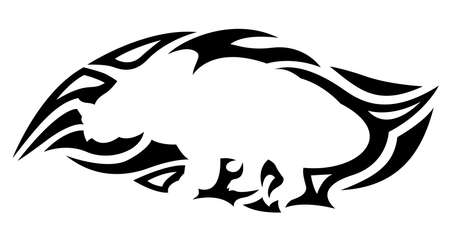 Beautiful monochrome tribal tattoo illustration with isolated black pattern around white triceratops silhouette