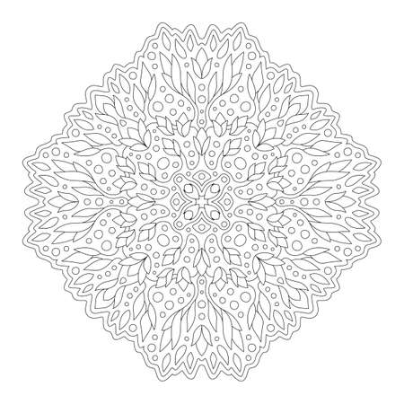 Beautiful monochrome illustration for coloring book page with abstract linear floral pattern isolated on the white background