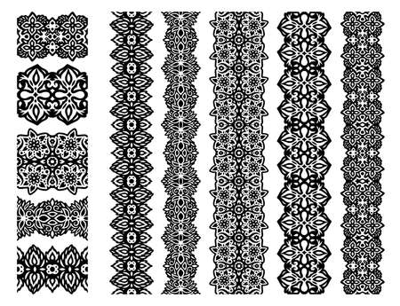 Beautiful collection with black floral seamless paint brushes isolated on the white background