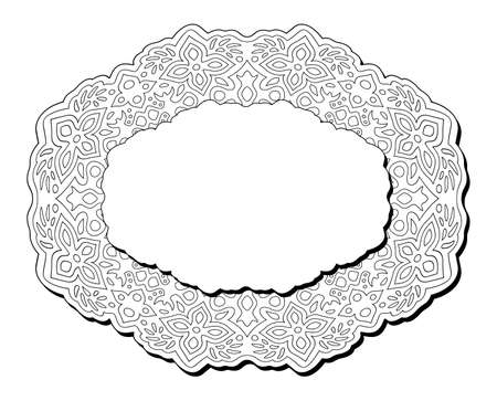 Beautiful monochrome illustration for coloring book page with isolated abstract eastern frame and white copy space