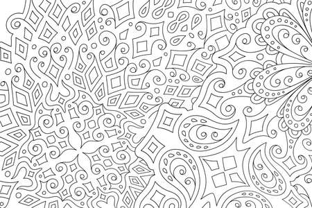 Beautiful monochrome linear illustration for adult coloring book with abstract eastern pattern 일러스트