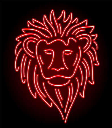Colorful linear illustration with beautiful neon red shiny lion head isolated on the dark background