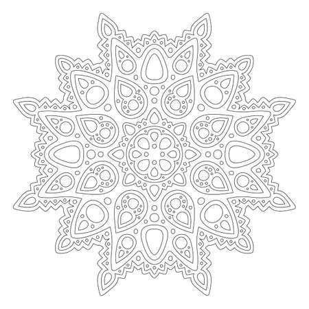 Beautiful monochrome linear illustration for coloring book page with abstract eastern pattern isolated on the white background 일러스트