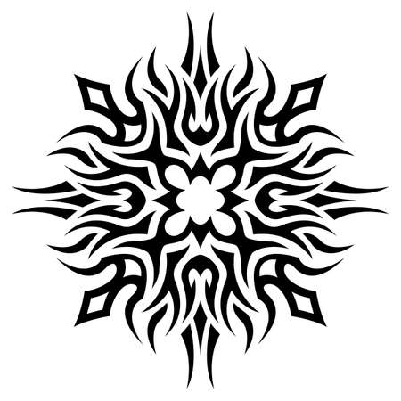 Beautiful monochrome vector illustration with abstract black tribal tattoo pattern isolated on the white background