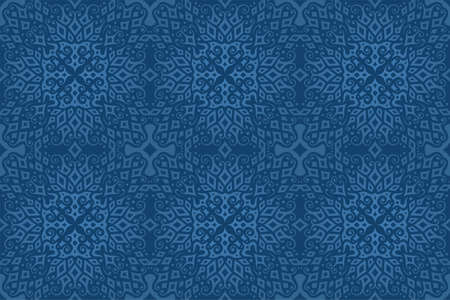 Beautiful background with abstract colorful blue tile seamless pattern