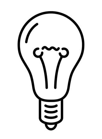 Beautiful monochrome linear illustration with stylized incandescent lamp isolated on the white background