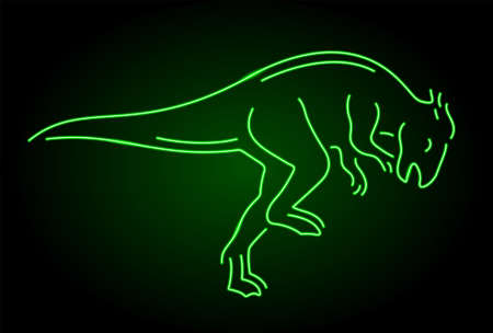 Colorful linear illustration with beautiful neon green shiny dinosaur silhouette isolated on the dark background