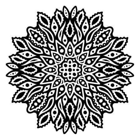 Beautiful monochrome vector tattoo illustration with abstract black pattern isolated on the white background