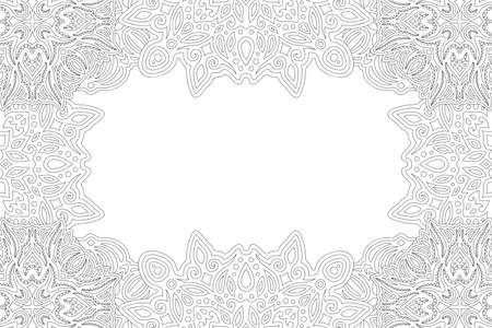 Beautiful monochrome linear illustration for adult coloring book page with abstract rectangle detailed border and white copy space