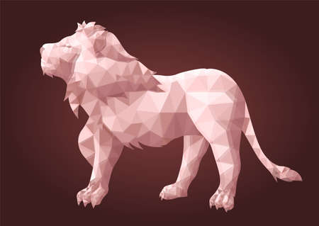 Beautiful low poly illustration with stylized shiny lion silhouette