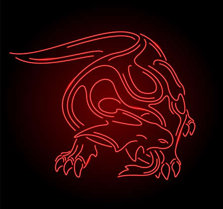 Colorful linear illustration with beautiful neon red stylized shiny monster lizard silhouette isolated on the dark background 일러스트
