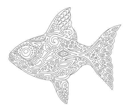 Beautiful monochrome illustration for coloring book page with stylized fish silhouette isolated on the white background 일러스트