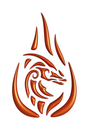 Beautiful 3d illustration with colorful red fire dragon head isolated on the white background