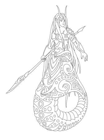 Beautiful monochrome linear illustration for coloring book page with cartoon mermaid isolated on the white background