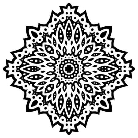 Beautiful monochrome tribal tattoo illustration with black eastern pattern isolated on the white background 일러스트