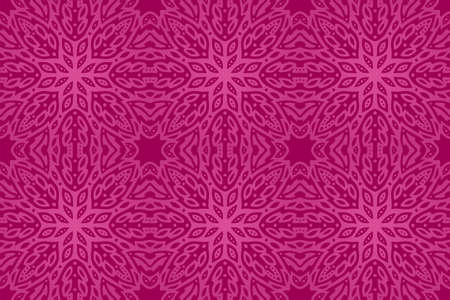 Beautiful rectangle pink background with abstract tile seamless pattern