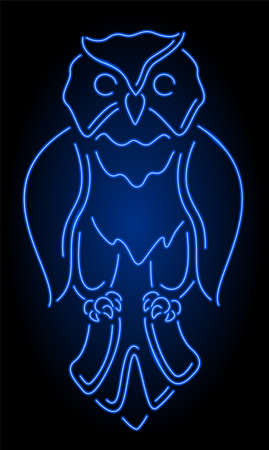 Beautiful linear illustration with colorful neon blue shiny stylized owl silhouette isolated on the dark background