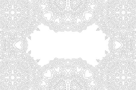 Beautiful black and white border for valentines day coloring book page with heat shapes 일러스트