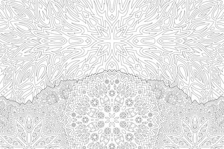 Beautiful monochrome linear illustration for adult coloring book page with stylized sunny landscape