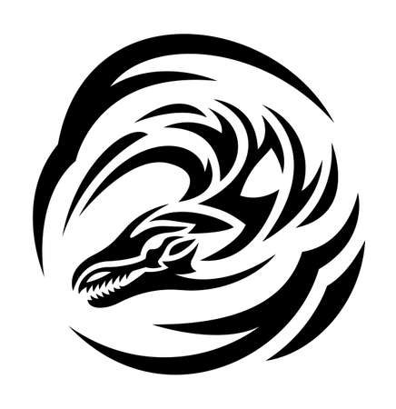 Beautiful monochrome tattoo illustration with black stylized dragon head isolated on the white background