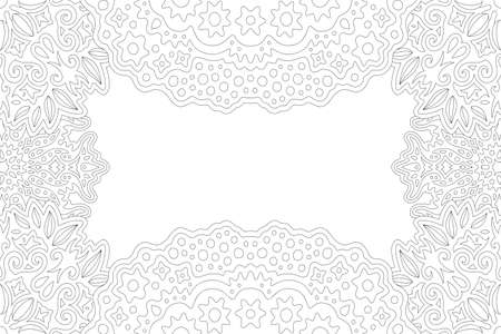 Beautiful monochrome linear illustration for adult coloring book page with abstract rectangle vintage border and white copy space in the center