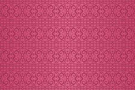 Beautiful pink rectangle background with abstract colorful vintage seamless pattern