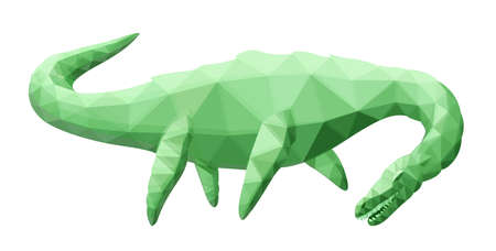Beautiful low poly illustration with green stylized plesiosaur silhouette isolated on the white background 일러스트