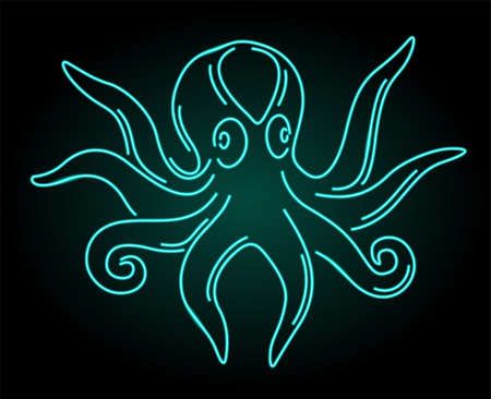 Beautiful linear illustration with colorful shiny neon octopus silhouette isolated on the dark background 일러스트