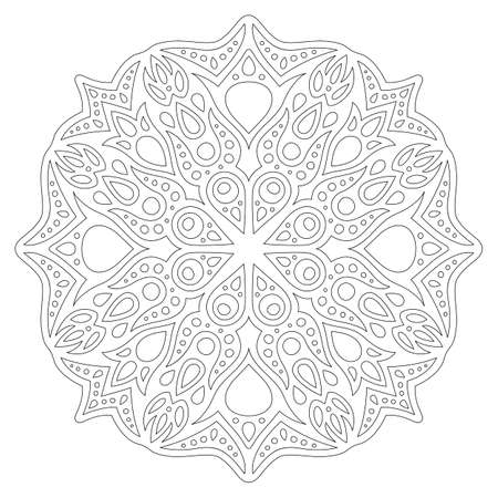 Beautiful monochrome linear illustration for coloring book page with abstract pattern isolated on the white background 일러스트
