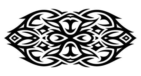 Beautiful monochrome tribal tattoo illustration with abstract black pattern isolated on the white background