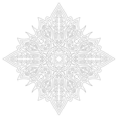 beautiful monochrome linear illustration for coloring book page with floral single pattern isolated on the white background